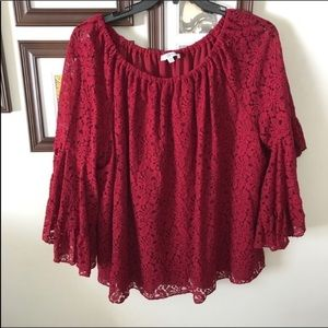 Bell Sleeve Lace Overlay Flowy Plus size Top